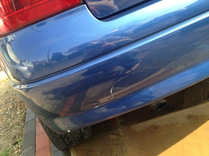 this crack on the bumper was the result of a hasty parking maneuver in my uni car park...my bad!